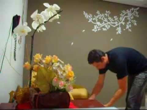 """Adesivos de Parede Decorativos Galho com folhas caindo"""" Lindo """" Tadeu Sacrini - / Wall stickers Decorative branch with falling leaves """"Beautiful"""" Tadeu Sacrini -"""