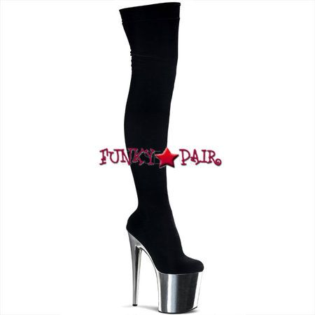 Flamingo-3002, 8 inch high heel with 4 inch platform stretch thigh high boots * Made by PLEASER Shoes