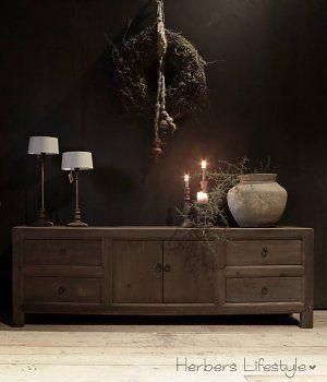 Tv Meubel van donker oud Elmwood (Iepenhout)