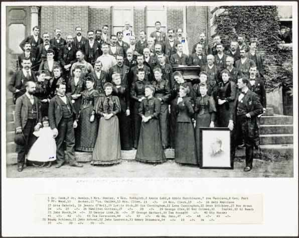 """Photo of the first day shift, 1873.  Photo credit: """"Ridges dayshiftstaff"""". Licensed under PD-US via Wikipedia - http://en.wikipedia.org/wiki/File:Ridges_dayshiftstaff.jpg#mediaviewer/File:Ridges_dayshiftstaff.jpg"""