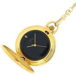 Colibri Pocket Watch Hunting Case Gold Tone Black Dial PWS095849