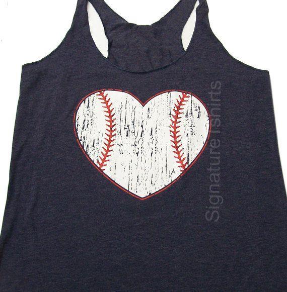 Funny Baseball Tank top. Baseball shirt. Baseball womens Tank. Vintage baseball heart graphic sport game tank top