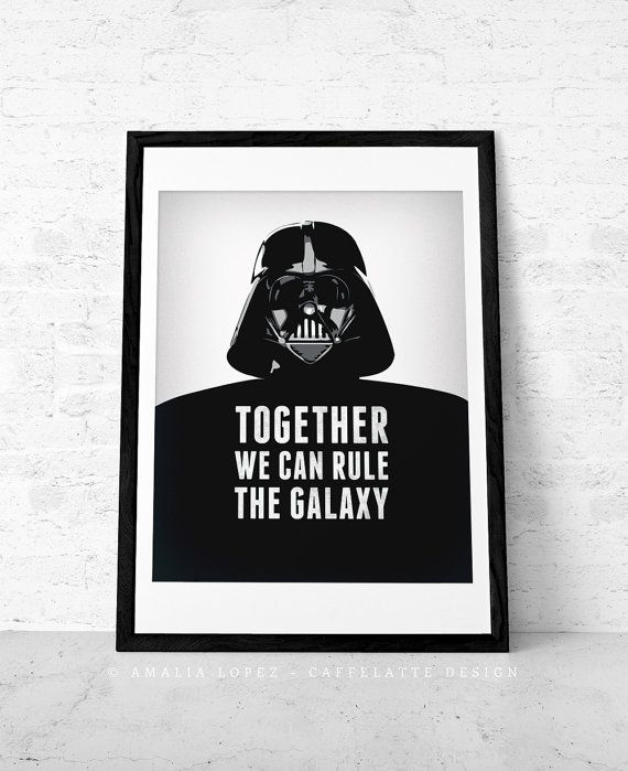 Valentines day for him Star Wars print Darth Vader by LatteDesign, $15.00