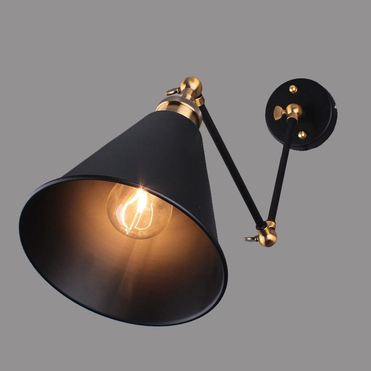 Art Deco Vintage Small Black Umbrella Lampshade Household Adjustable Wall Lights lamp Cafe Reading Room Lamp