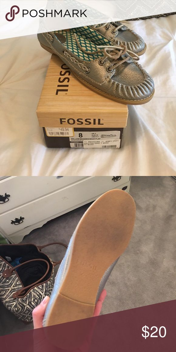 Fossil Willow Braided Boat Flat Pewter-metallic colored ladies boat shoe! These are practically new, worn once outside of the house! Padded interior makes them super comfy, I just never cared for how they fit! Fossil Shoes Flats & Loafers