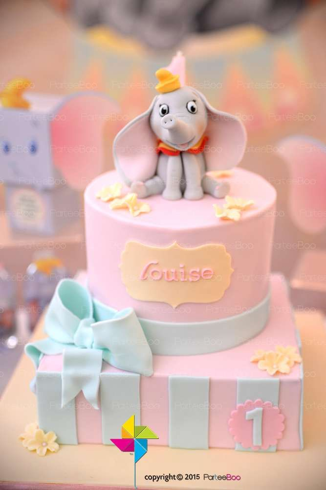 Dumbo birthday party cake! See more party ideas at CatchMyParty.com!