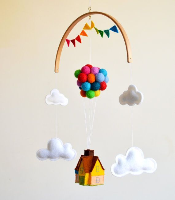 Up! house balloons Disney movie inspired baby mobi…
