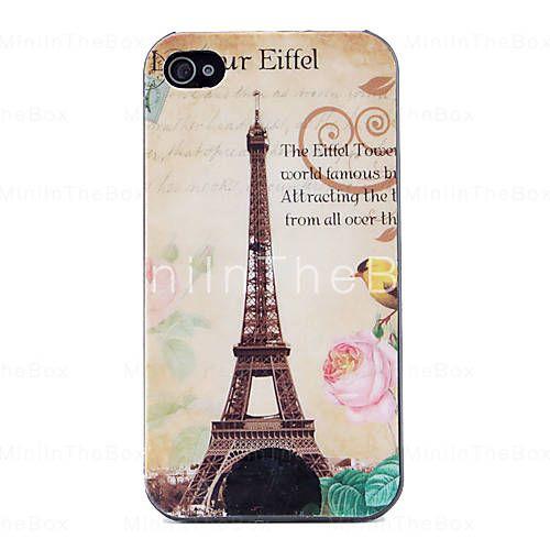 eiffel padrão caso capa dura para o iphone 4 e 4S (multi-cor)