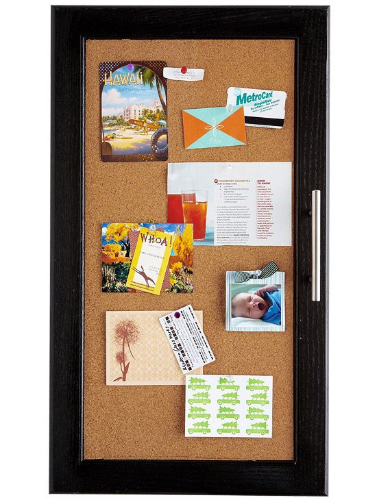 Kitchen Cabinet Makeover: Corkboard Cabinets Turn kitchen cabinet doors into mini bulletin boards in just a few simple steps.