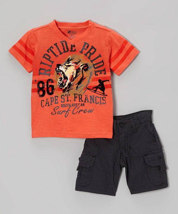 This Red Orange Lion Tee & Black Shorts - Toddler & Boys by BOYZ WEAR is perfect! #zulilyfinds