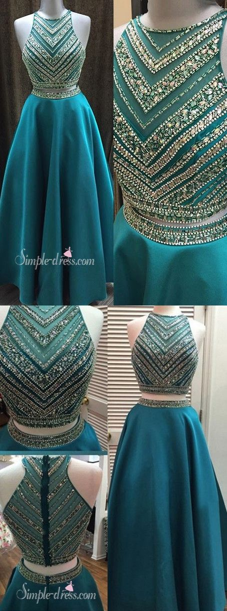 2016 two-piece prom dresses, long prom dresses with beaded, blue prom dresses