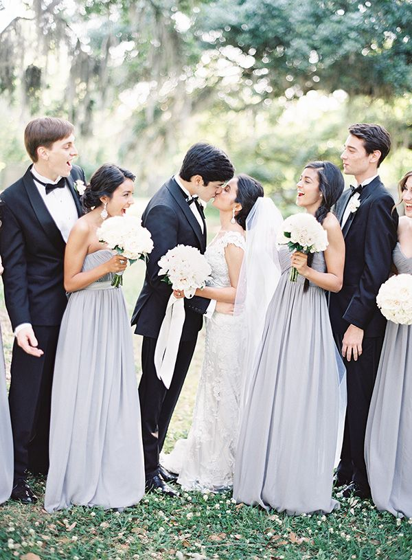 Groomsmen in Black Tie and Bridesmaids in Gray Gowns | Marissa Lambert Photography | White Peonies and Floral Lace for a Classic New Orleans Wedding