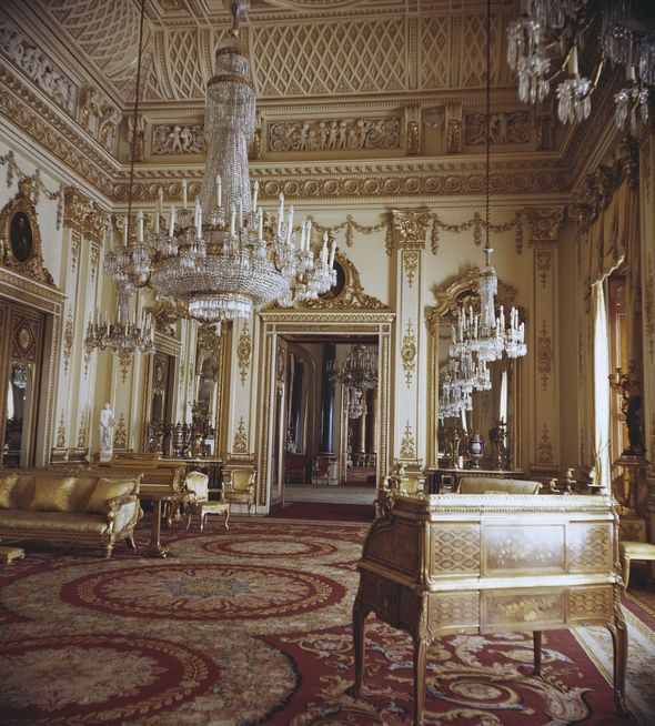 The White Drawing Room at Buckingham Palace.