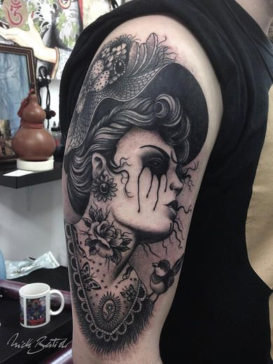 #victorian #blackmetal #neotraditional #blackandgrey #tattoo #tattoo #blackwork…