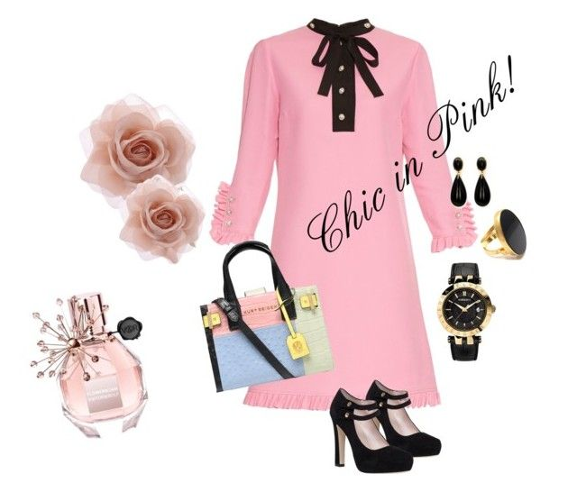 Chic in Pink! by marialibra on Polyvore featuring Gucci, Kate Spade, Kurt Geiger, Accessorize, Versace, Yossi Harari, Viktor & Rolf, women's clothing, women's fashion and women