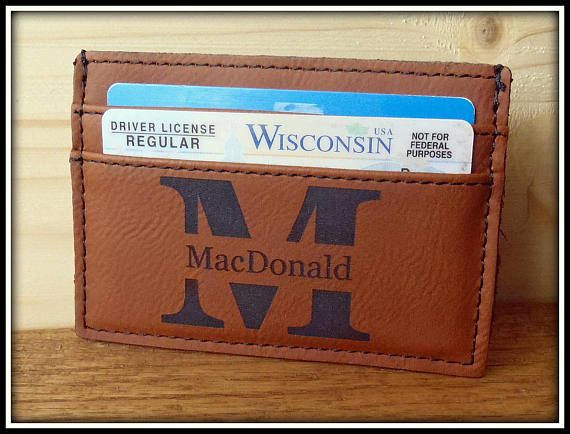 Mens Personalized Leather Wallet Money Clip Custom Money