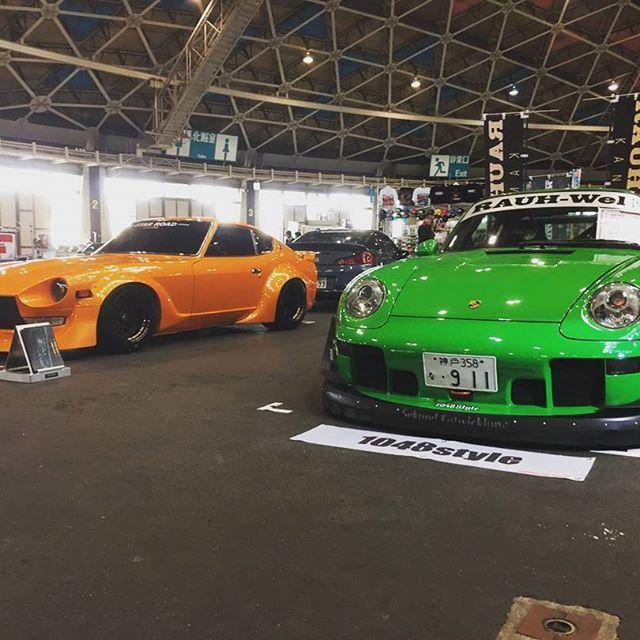 We are at Nagoya Auto Trend.  #nagoyaautotrend #autotrend #rwb #rauhweltbegriff #rauhwelt #porsche #starroad #nissan #nissanz #kamiwazajapan #1048style #z #nismo #993 #porschemotorsport #porsche993 #illest #fatlace #stancenation #s30z #armygirl