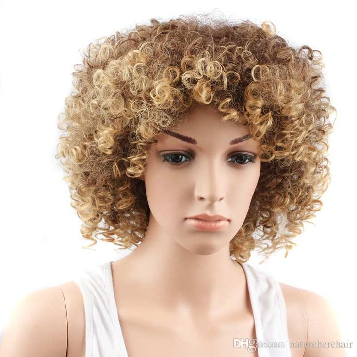 Hot sale Synthetic Wigs Afro Short Wigs for Women blonde&Brown Kinky Curly Synthetic Wig fake hair