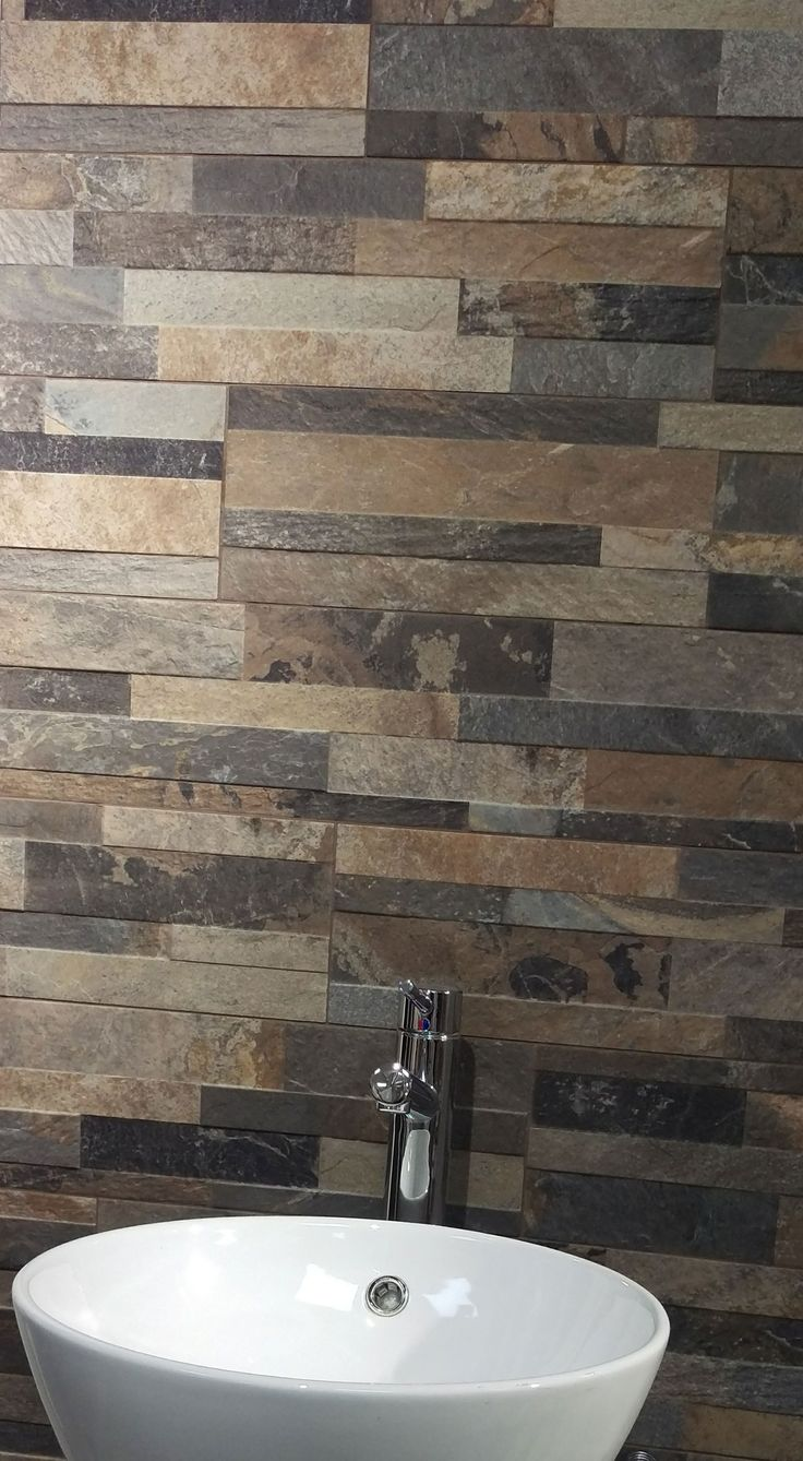 Yogi split face stone effect tiles make a great splashback or feature wall