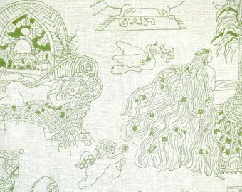"""Retro Wallpaper by the Yard 70s Vintage Wallpaper - 1970s Green and Ivory French """"Bain"""" Bathroom Wallpaper with Women Animals and Flowers"""