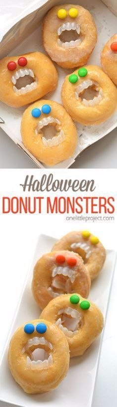 Best Halloween Party Snacks - Halloween Monster Donuts - Healthy Ideas for Kids for School, Teens and Adults - Easy and Quick Recipes and Idea for Dips, Chips, Spooky Cookies and Treats - Appetizers and Finger Foods Made With Vegetables, No Candy, Cheap Food, Scary DIY Party Foods With Step by Step Tutorials http://diyjoy.com/halloween-party-snacks