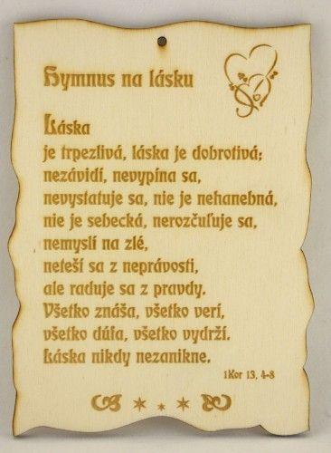 Citát na dreve: Hymnus na lásku... | 3,88 € - obrázok
