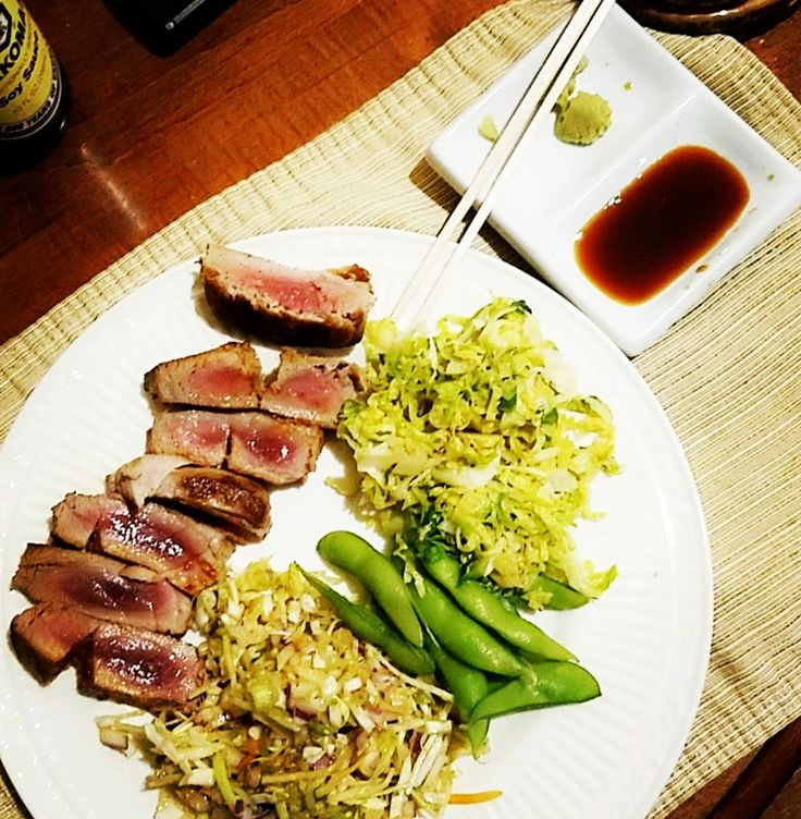 [Homemade] Seared Ahi Tuna with Asian slaw edamame and shredded brussle sprouts