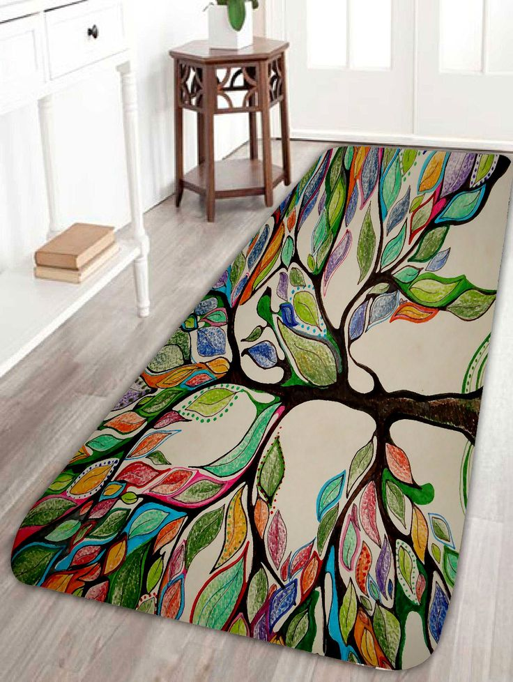 Colorful Tree Print Coral Fleece Bath Rug