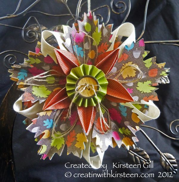 Fall Ornament made with Autumn Accents die and Orchard Harvest dsp. Thanks Kirsteen!