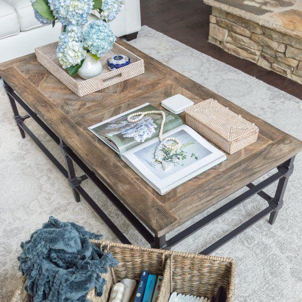 Parquet Reclaimed Wood Rectangular Coffee Table Wood Coffee