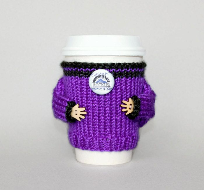 Colorado Rockies fan coffee cozy. MLB Denver baseball team. Purple black. Knit cup sleeve. Travel mug coozie. Office coffee Starbucks cup by MugHugCozy on Etsy