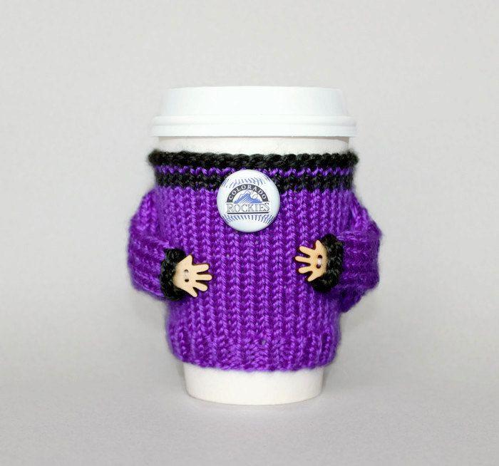 Colorado Rockies fan coffee cozy. MLB Denver baseball team. Purple black. Knit cup sleeve. Travel mug coozie. Office coffee Starbucks cup by MugHugCozy on Etsy