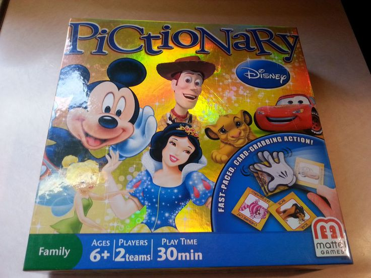 DISNEY PICTIONARY BOARD GAME Fast Paced Card Grabbing Action Edition Mickey Game #Mattel