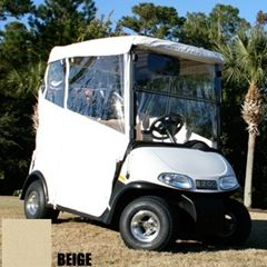 A 3 sided golf cart provides better visibility than a 4 sided one that goes over the windshield.