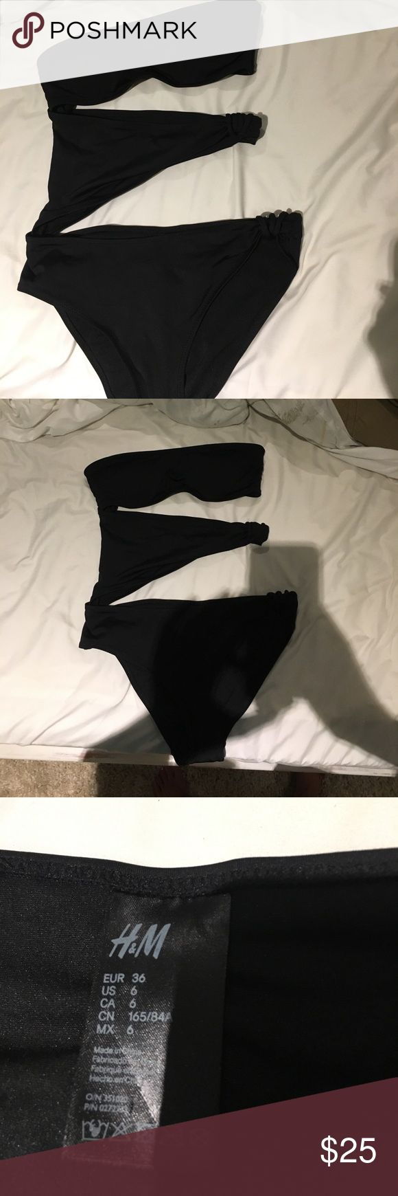 Cutout bikini tube top one piece bikini Never worn! Just modeled so you can see too small for my bust! Perfect condition! Offers are accepted (all of them) use button! Fits 00-6 H&M Swim One Pieces