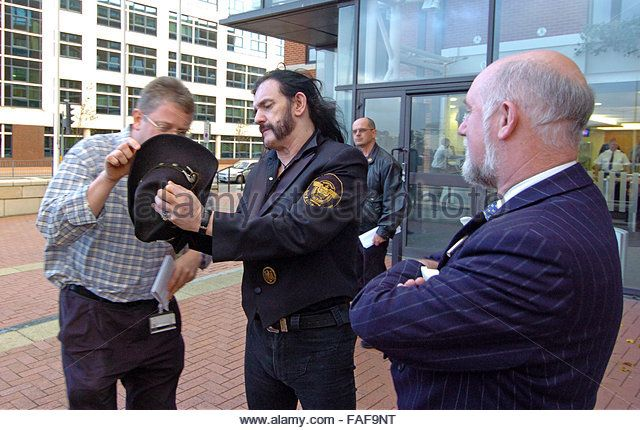 FILE PIX: Cardiff, UK. 5th Nov, 2005. Stock photos of Lemmy from Motorhead visiting the National Assembly in Cardiff Bay for an anti drugs press conference ahead of their gig at Cardiff University Students Union on 5th November 2005. Lemmy is pictured alongside the Conservative Assembly Member William Graham. Credit:  Phil Rees/Alamy Live News - Stock Image