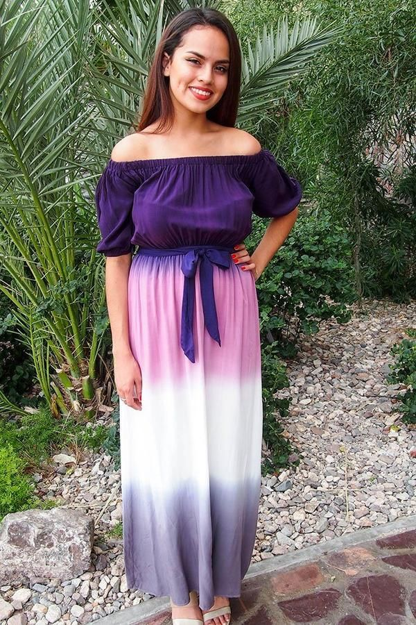 b96697a15a02 All She Wants Purple Ombre Off The Shoulder Maxi Dress in 2018 ...