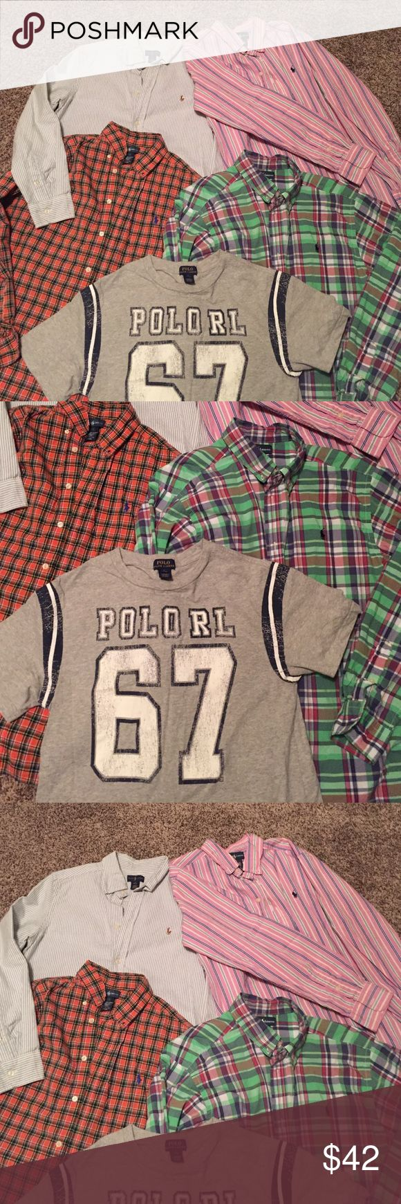 5 POLO RALPH LAUREN shirts Big kids boys size 14-16. No flaws. All shirts are long sleeve except the grey tee. All shirts are a size large except the green strip shirt. It's a size XL. If you want to purchase a shirt separately, i will create a listing for you. Simply let me know in the comments. As always cheaper on Ⓜ️ Polo by Ralph Lauren Shirts & Tops Polos