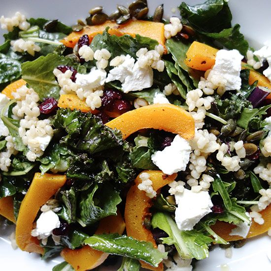 An autumn salad with Apple cider vinaigrette. Might try this with some feta instead of the goat cheese.