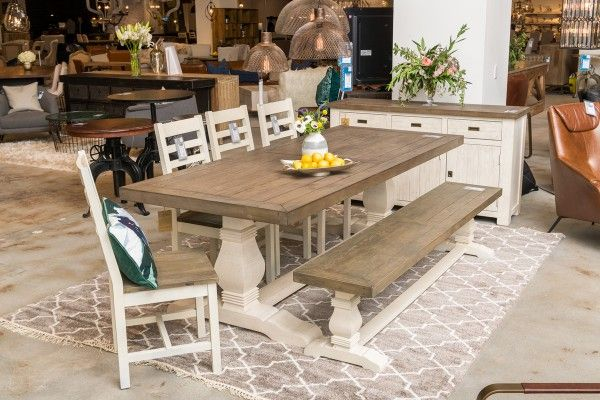 Caleb Dining Table 94 Two Tone Dining Table Rustic Dining