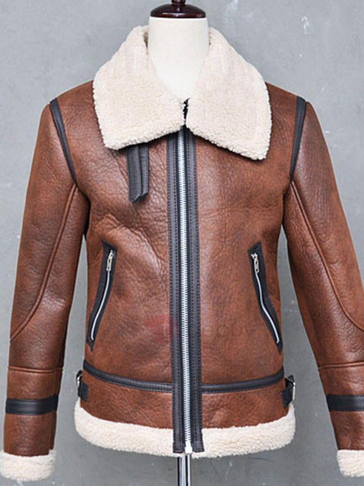Manteau Homme en Cuir Synthétique avec Fourrure Epais Chaud