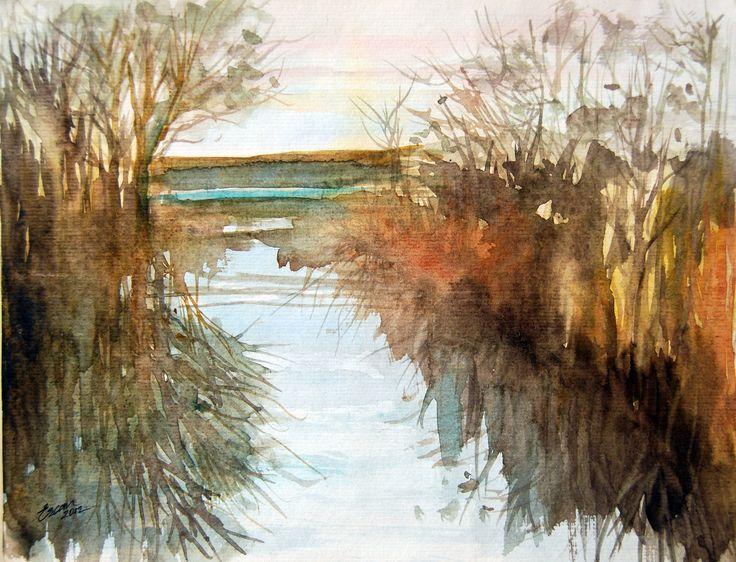 Reeds in Lake İznik 24cmx34cm Watercolor on Paper ERCAN GUNAY