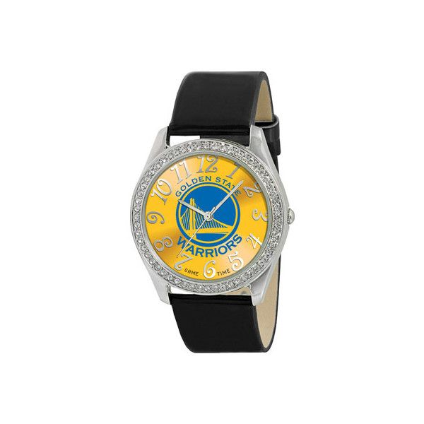 Game Time Glitz Series NBA - Golden State Warriors ($35) ❤ liked on Polyvore featuring jewelry, watches, none, dial watches, golden crown, brass jewelry, holiday watches and crown jewelry
