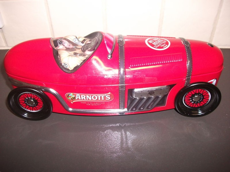 Arnotts Vintage Racing Car Biscuit Tin with Moveable Wheels Limited Edition | eBay