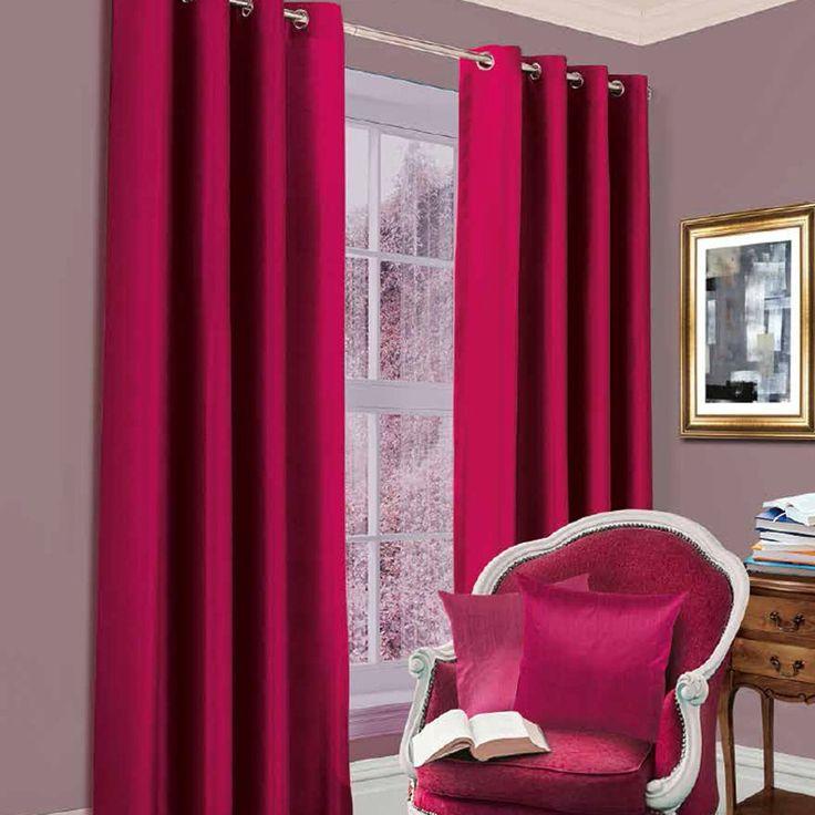 Blackout Eyelet Curtains, Fuchsia Pink