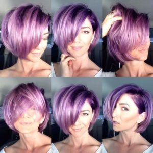 Plum Violet Hair Color for Short Hair