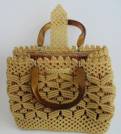 Vintage 1970 Boho Hippie Hand Made Macrame Purse by 2ndHandSoul