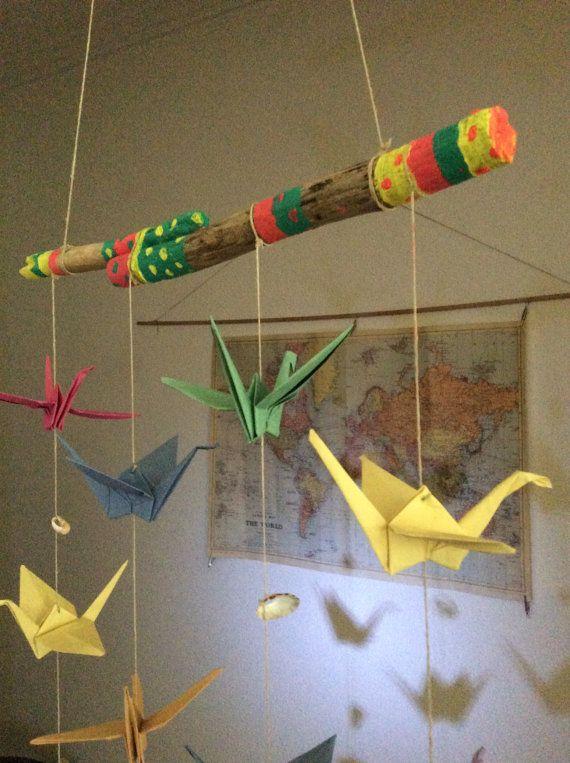 Móvil origami. Decoración de pared.Hecho a por Vientoafavor en Etsy