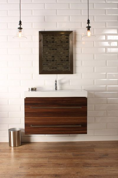 Naos 36 Walnut Modern Wall Mount Bathroom Vanity The Canada