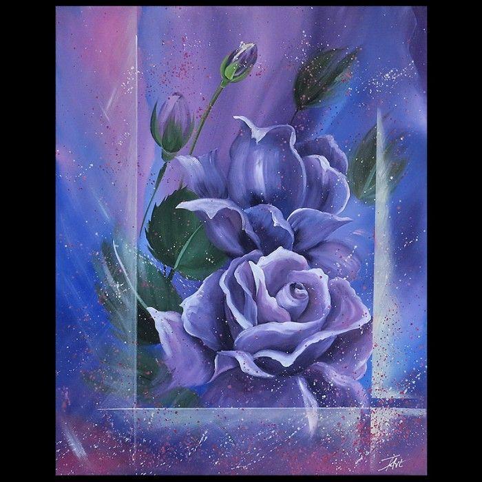 Schilderijen Schilderij Paarse rozen Kunst